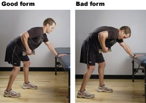 Good Form and Bad Form Demonstrated for Back Rows
