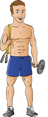 Guys work out at home